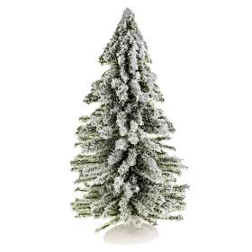 Musgo, líquenes, plantas.: Árbol de navidad con nieve H 15 cm