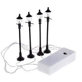 Battery powered street lamps, set of 4, H10cmBattery powered st s3
