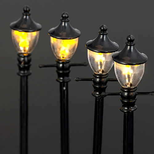 Battery powered street lamps, set of 4, H10cmBattery powered st 4