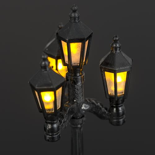 Battery powered street lamp with 4 lights, H11cm 5