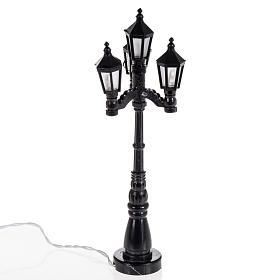 Luzes e Lamparinas para o Presépio: Candeeiro iluminação pública 4 luzes de pilhas h 11 cm