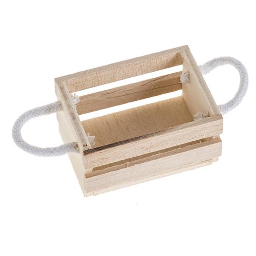 Nativity accessory, wooden box with rope handles 1