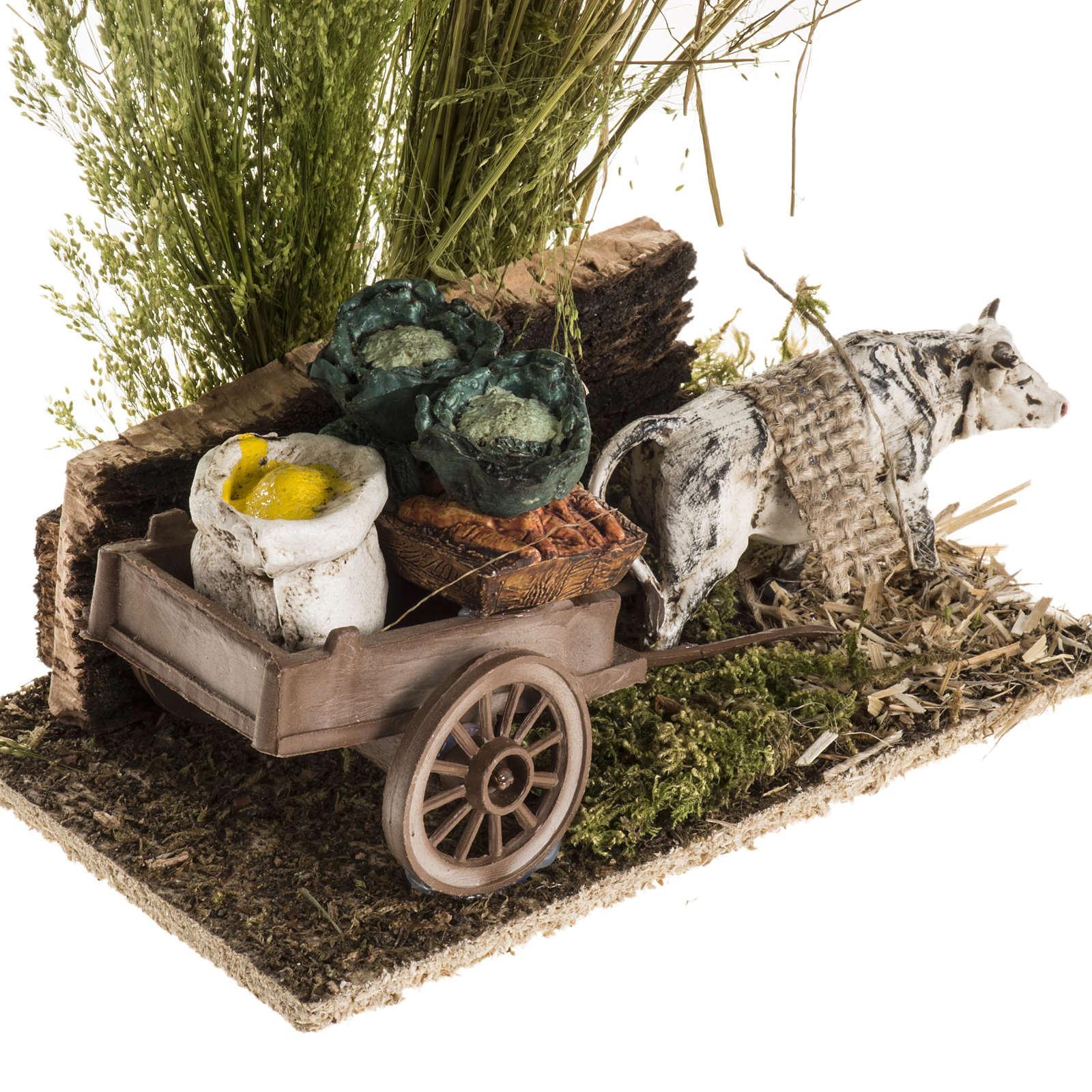Ox with sacks cart, nativity setting 3