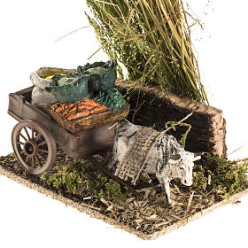 Ox with sacks cart, nativity setting s3