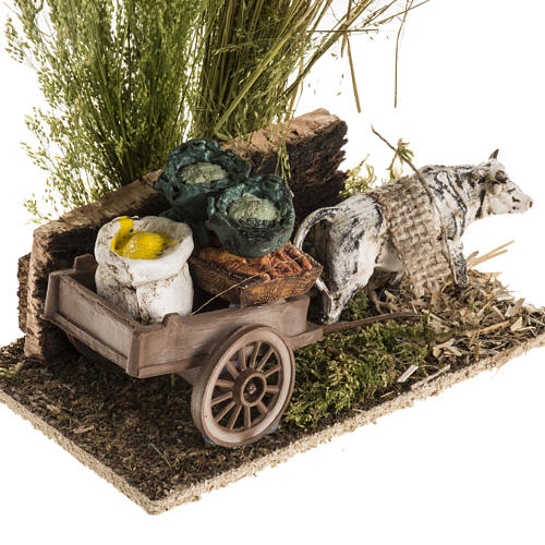 Ox with sacks cart, nativity setting 2