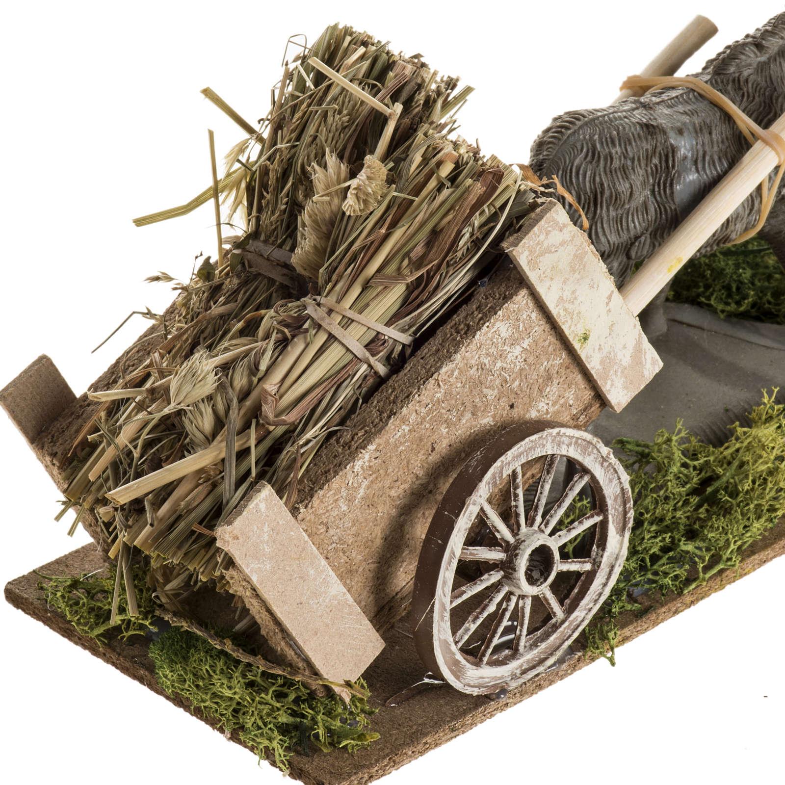Asino carro di fieno per presepe 8-10 cm 3