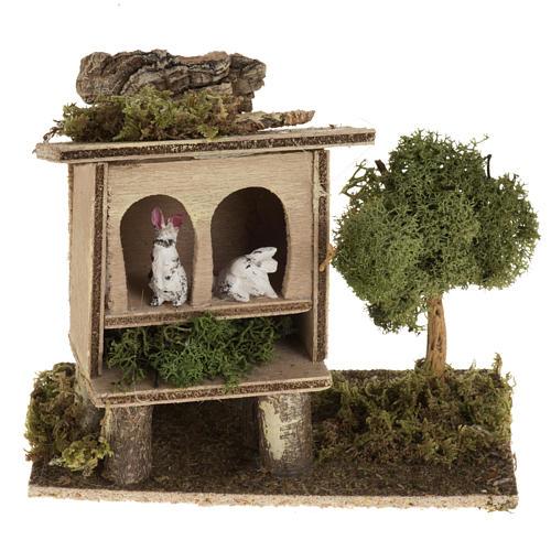 Conigli nella conigliera 8-10 cm: ambientazione rurale 1