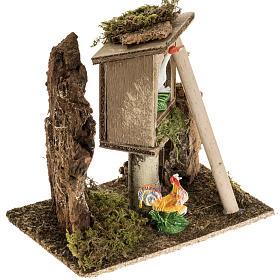 Gallo e gallina con scala ambientazione presepe 8-10 cm s2