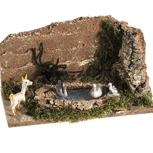 Nativity scene figurines, goat and 3 geese in the pond 1