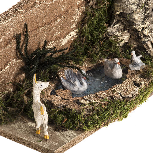 Nativity scene figurines, goat and 3 geese in the pond 2