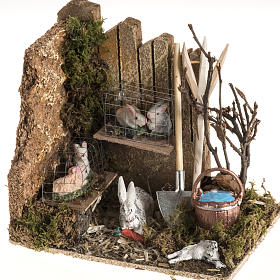 Nativity scene figurines, rabbits and setting s1