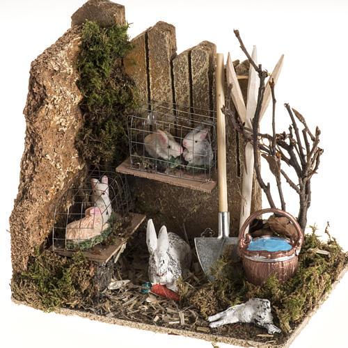 Nativity scene figurines, rabbits and setting 1