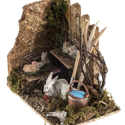 Nativity scene figurines, rabbits and setting 2