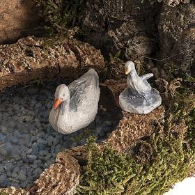 Anatre nel lago e capra ambientazione presepe 8-10 cm s3