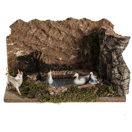 Anatre nel lago e capra ambientazione presepe 8-10 cm 1