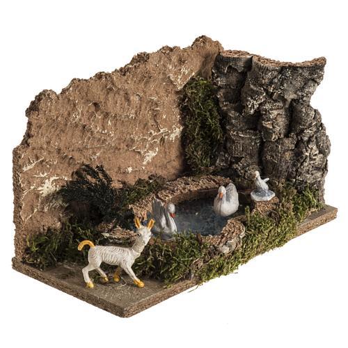 Anatre nel lago e capra ambientazione presepe 8-10 cm 2