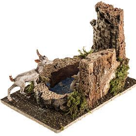 Chèvre avec oies dans bassin milieu crèche Noel s2