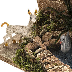 Chèvre avec oies dans bassin milieu crèche Noel s3