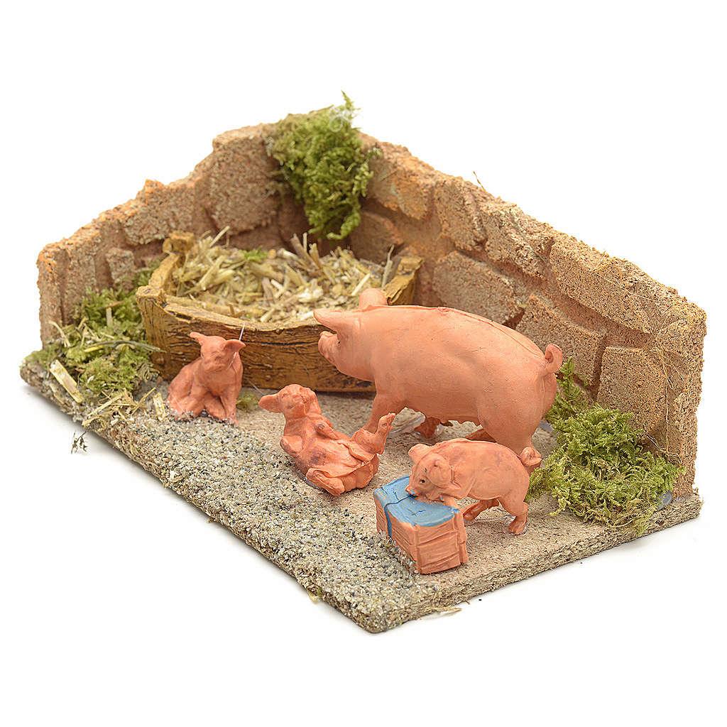 Famiglia di maiali ambientazione presepe 8-10 cm 3