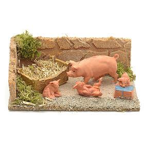 Famiglia di maiali ambientazione presepe 8-10 cm s1