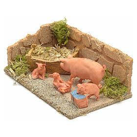 Famiglia di maiali ambientazione presepe 8-10 cm s2