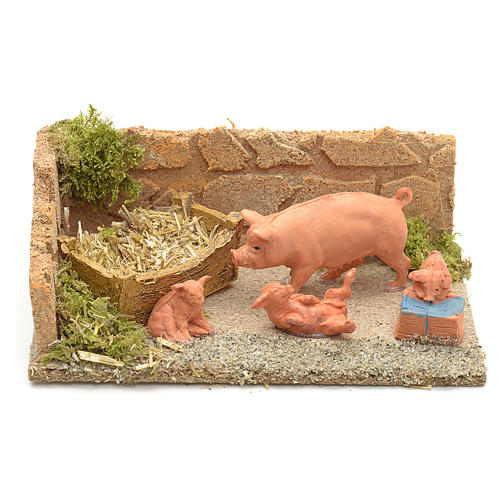 Famiglia di maiali ambientazione presepe 8-10 cm 1