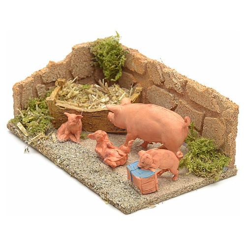 Famiglia di maiali ambientazione presepe 8-10 cm 2