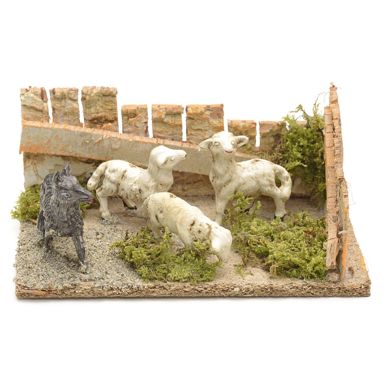 Pecore con cane: ambientazione presepe 8-10 cm 3