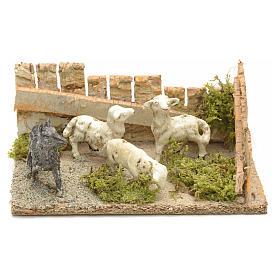 Pecore con cane: ambientazione presepe 8-10 cm s5