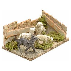 Pecore con cane: ambientazione presepe 8-10 cm s6