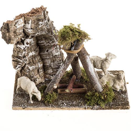 Pecore con cane: ambientazione presepe 8-10 cm 1