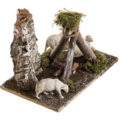Pecore con cane: ambientazione presepe 8-10 cm 2