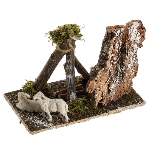 Pecore con cane: ambientazione presepe 8-10 cm 4