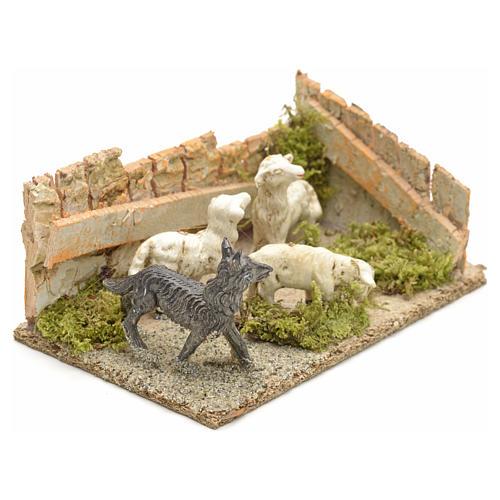 Pecore con cane: ambientazione presepe 8-10 cm 6