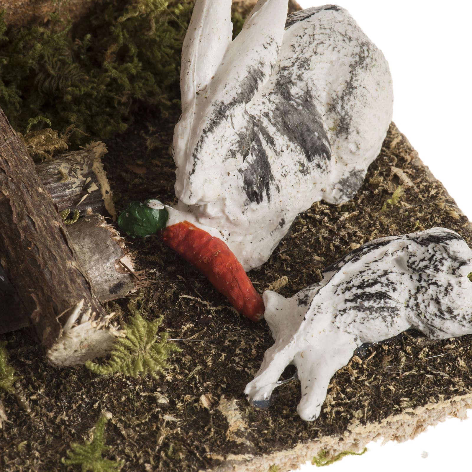 Conigli con conigliera 8-10 cm: ambiente del presepe 3