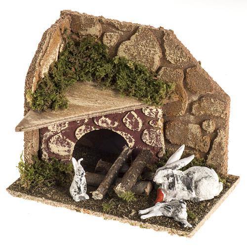 Conigli con conigliera 8-10 cm: ambiente del presepe 1