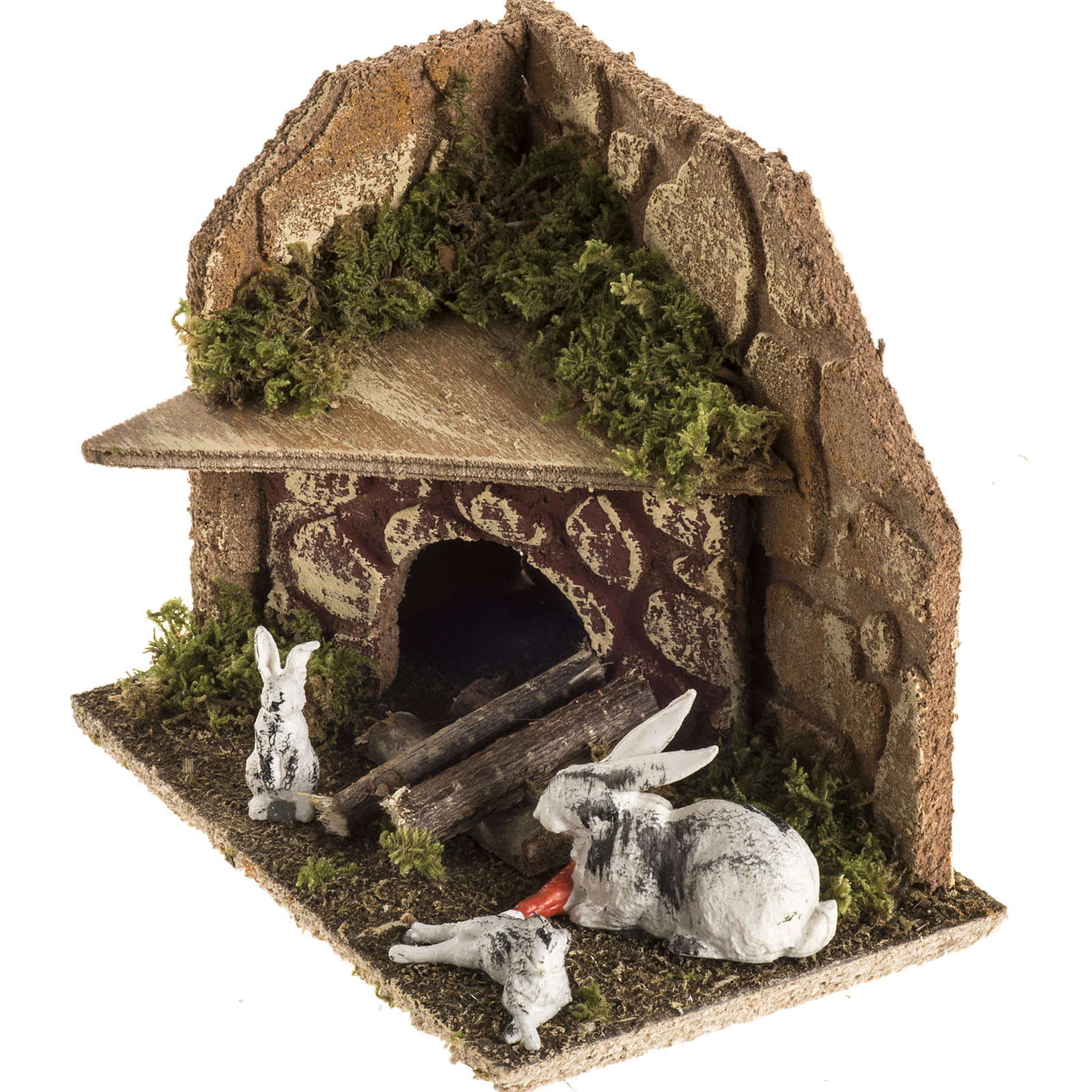 Nativity scene figurines, rabbits with rabbit hutch 3