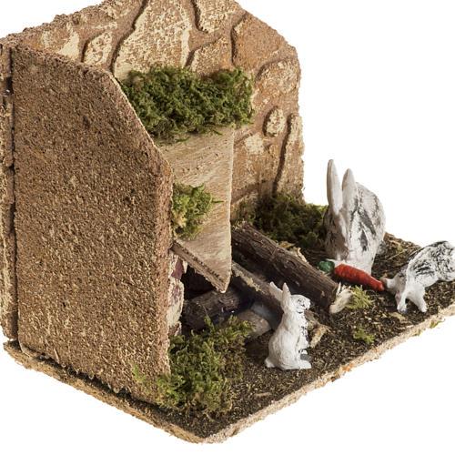 Nativity scene figurines, rabbits with rabbit hutch 2