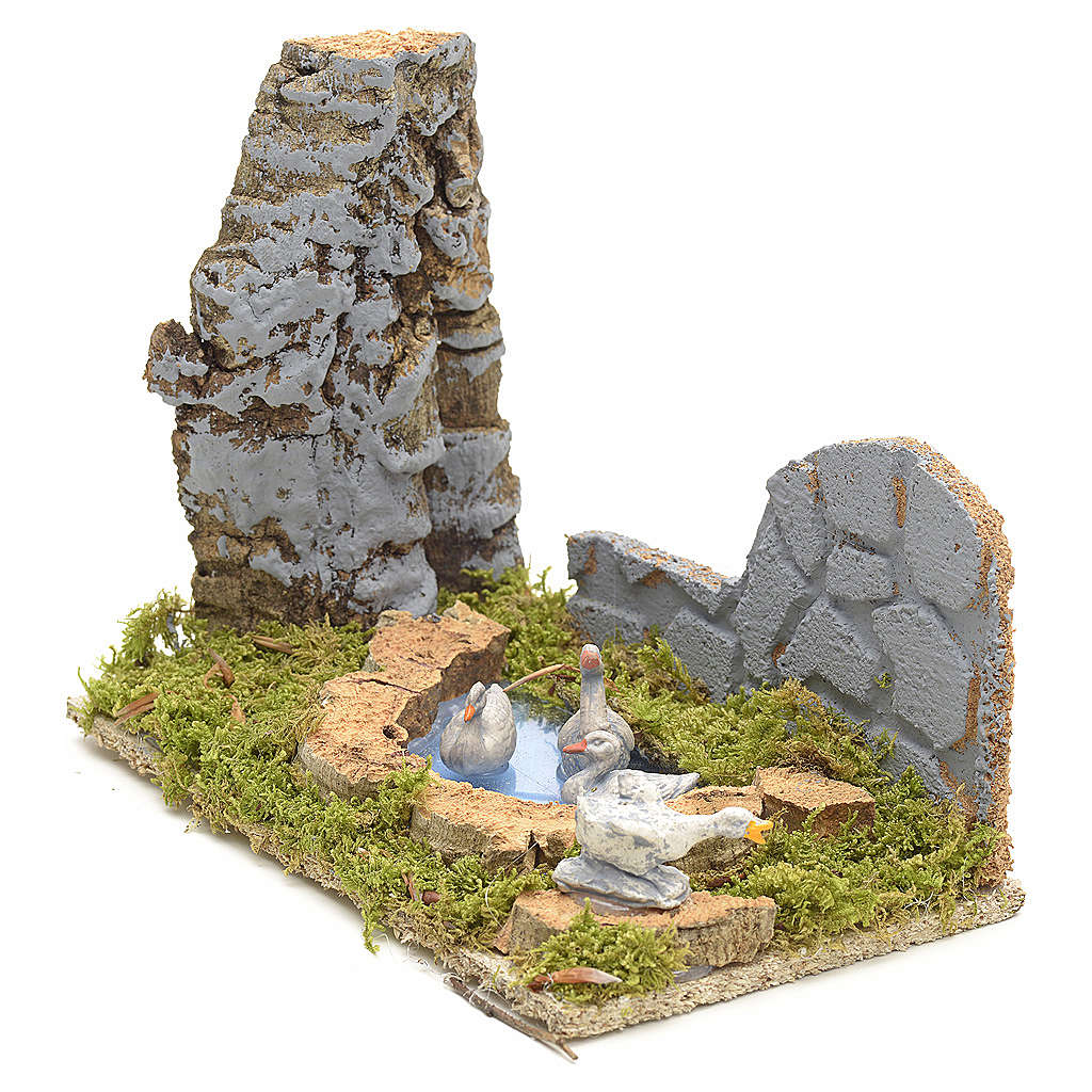 Nativity scene figurines, geese in the fake pond 3