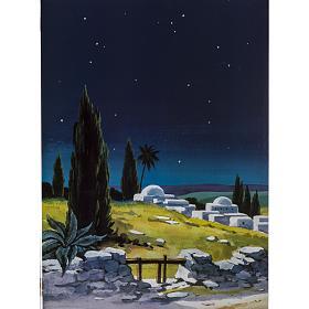 Trittico legno: sfondo presepe paesaggio 200x70 s3