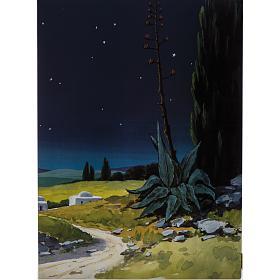Trittico legno: sfondo presepe paesaggio 200x70 s4