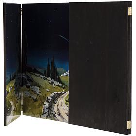 Trittico legno: sfondo presepe paesaggio 200x70 s5