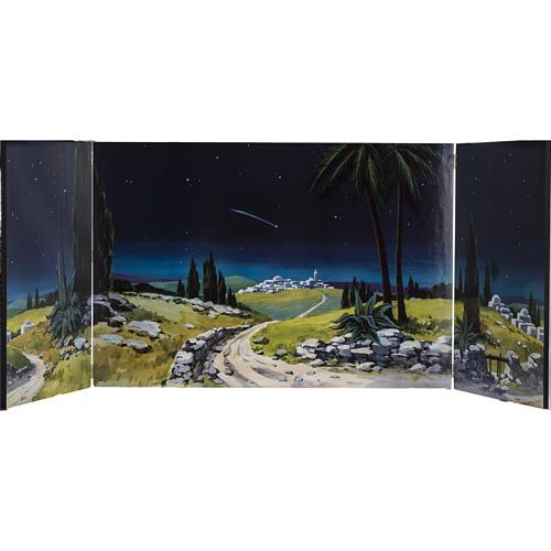 Trittico legno: sfondo presepe paesaggio 200x70 1