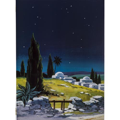 Trittico legno: sfondo presepe paesaggio 200x70 3