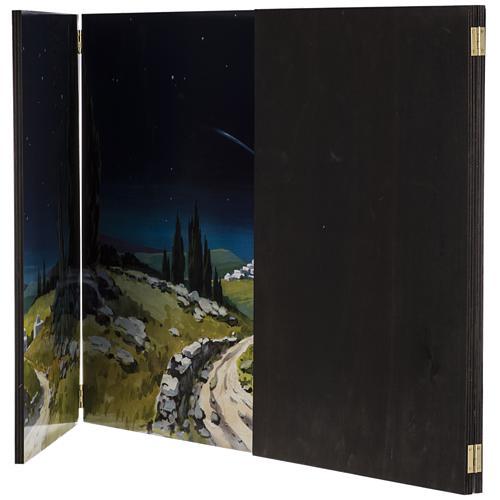 Trittico legno: sfondo presepe paesaggio 200x70 5