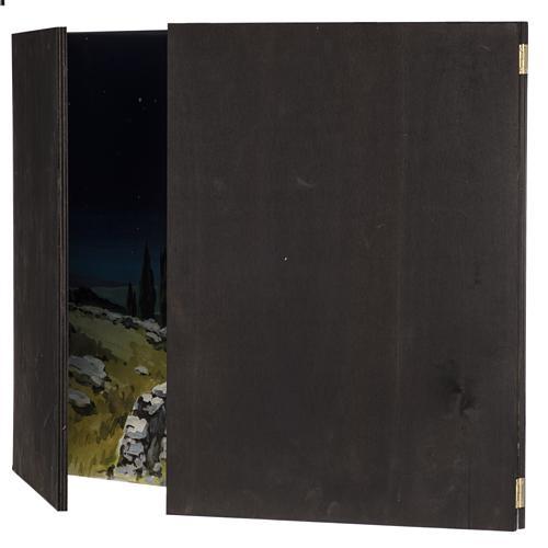 Trittico legno: sfondo presepe paesaggio 200x70 8