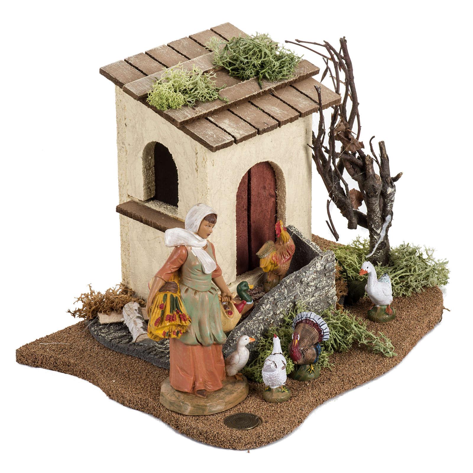 Gallinaia presepe Fontanini: villaggio cm 12 3