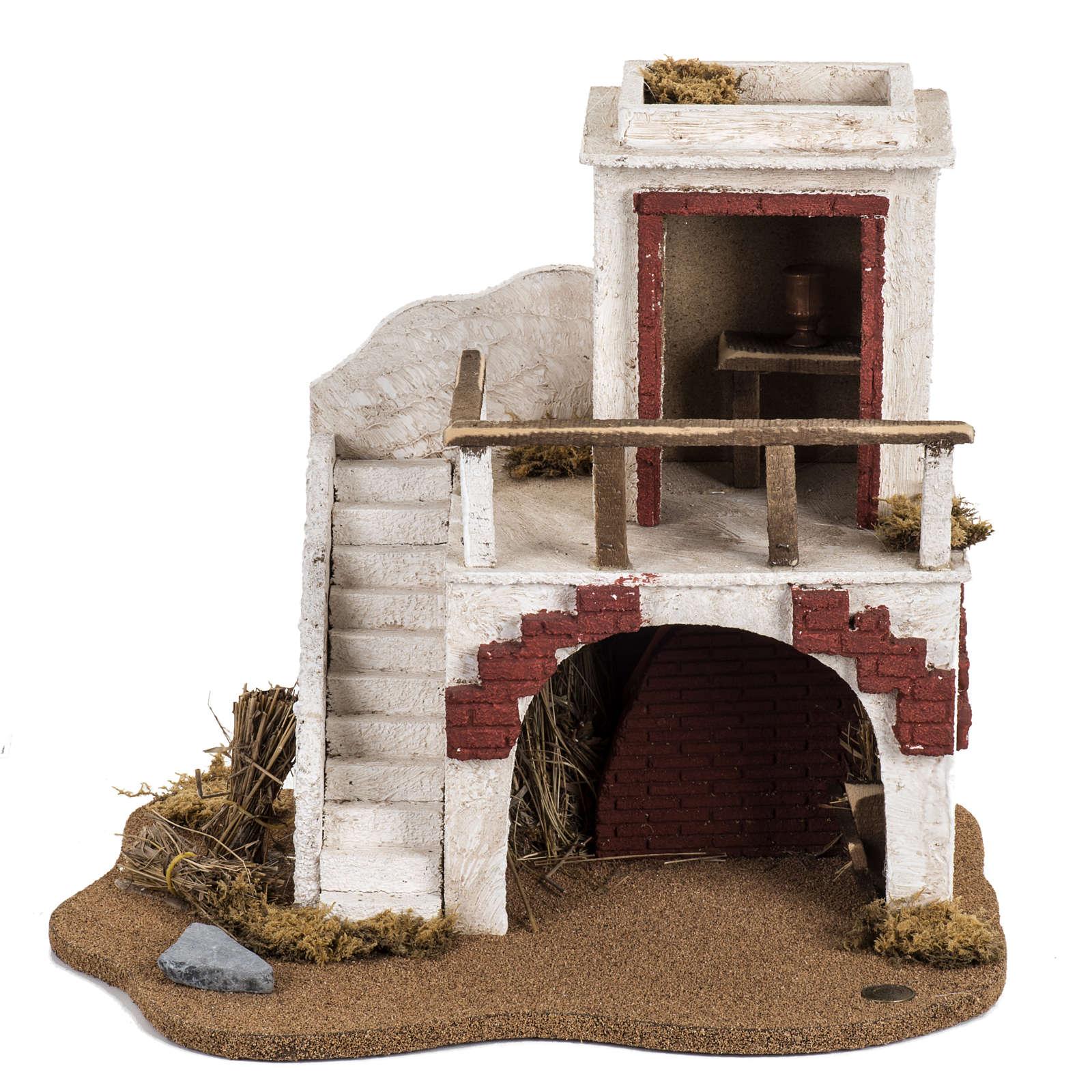 Casa con stalla Fontanini per villaggio cm 12 4
