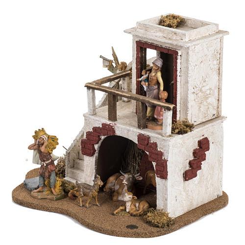 Casa con stalla Fontanini per villaggio cm 12 3