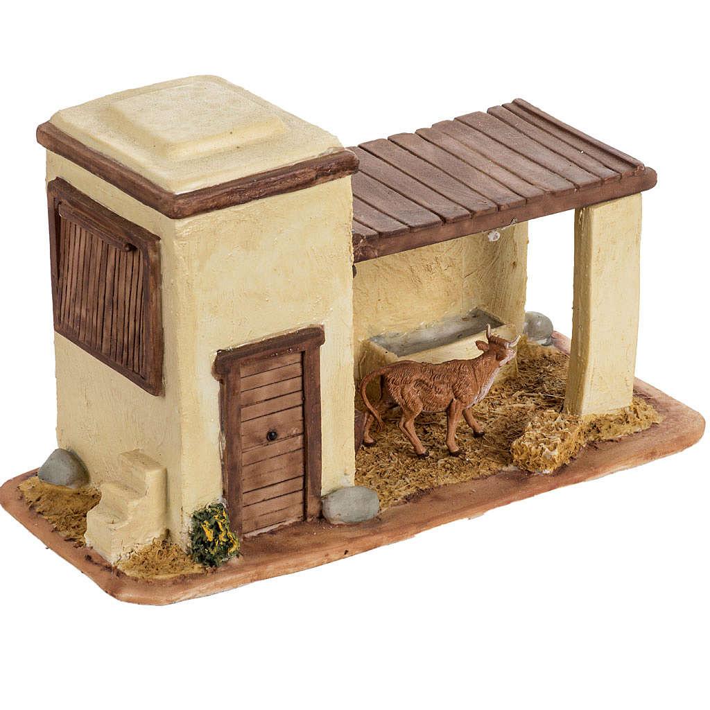 Stalla con mucca per villaggio Fontanini cm 6.5 4